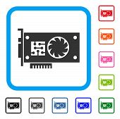 Gpu Accelerator Card icon. Flat grey pictogram symbol in a blue rounded rectangle. Black, gray, green, blue, red, orange color versions of Gpu Accelerator Card vector. poster