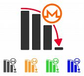 Monero Falling Acceleration Graph icon. Vector illustration style is a flat iconic monero falling acceleration graph symbol with gray, green, blue, yellow color variants. poster