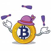 With juggling Bitcoin Gold character cartoon vector illustration poster