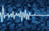Opioid death crisis and prescription painkiller addiction epidemic concept as an ekg or ecg monitor life flatline over pills as a medical addict problem as a 3D illustration elements. poster