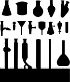 Silhouette of all the laboratory chemistry glassware. poster