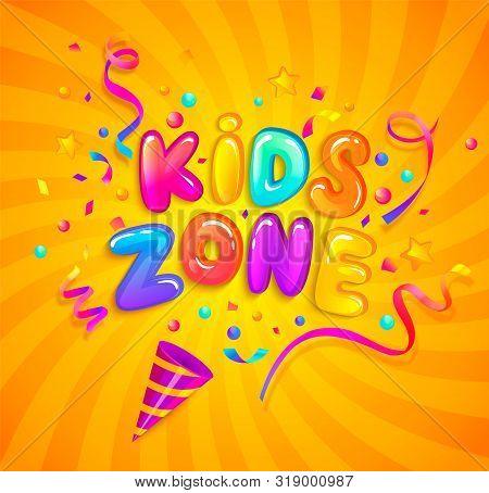 Kids Zone Banner With Party Cracker, Confetti, Serpentine Sparkles On Sunburst Background In Cartoon