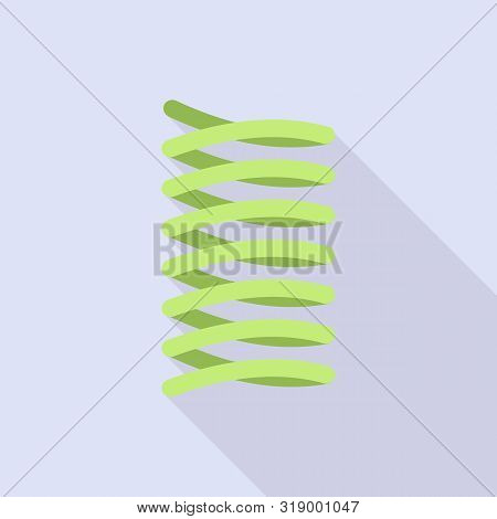 Green Spring Coil Icon. Flat Illustration Of Green Spring Coil Vector Icon For Web Design