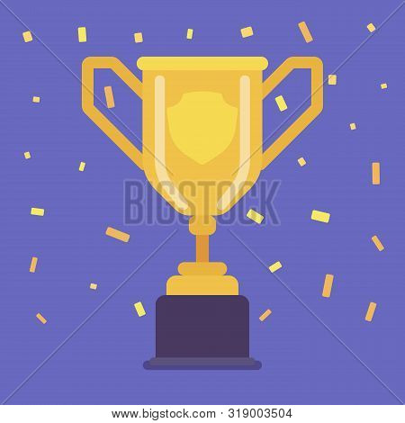 Champion Cup Trophy. Achievement, Recognition Or Evidence Of Merit Awarded For Sporting Events Winne