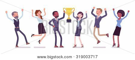Winner Team With Business Trophy. Happy Employees Winning On Training And Coaching Competition, Corp