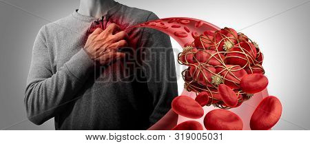 Blood Clot Health Risk Or Thrombosis Medical Illustration Symbol As A Group Of Human Blood Cells Clu