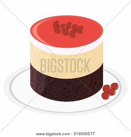 Souffle Cake With Chocolate Cake And Currant Berries