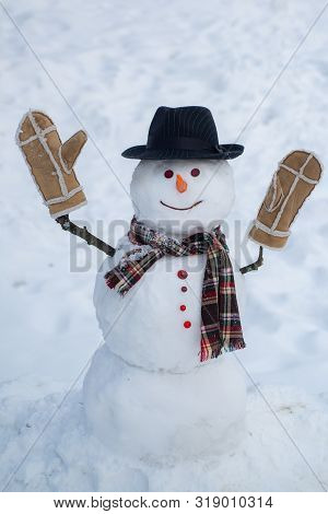 Happy Smiling Snow Man On Sunny Winter Day. Snowmen. Happy Winter Time. Snowman And Snow Day. Snowma