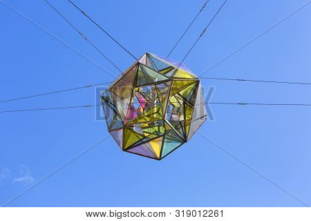 Great Colorful Light Sphere On The Squere In Front Of Copenhagen Maria Church, Street Lamp, Copenhag