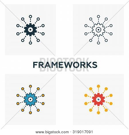 Frameworks Icon Set. Four Elements In Diferent Styles From Big Data Icons Collection. Creative Frame