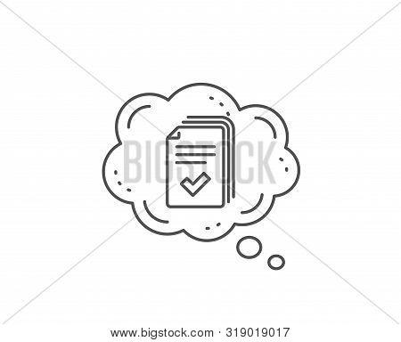 Handout Line Icon. Chat Bubble Design. Documents Example Sign. Outline Concept. Thin Line Handout Ic