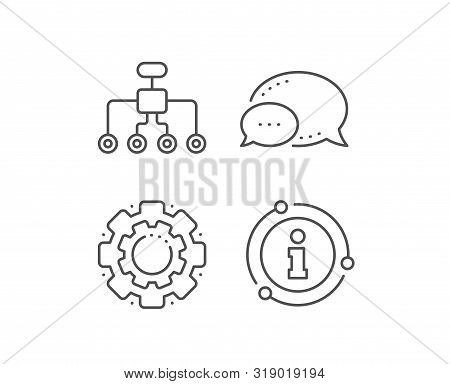 Restructuring Line Icon. Chat Bubble, Info Sign Elements. Business Architecture Sign. Delegate Symbo