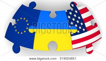 Cooperation Of The Ukraine, The European Union And The United States Of America. Puzzles With Flags