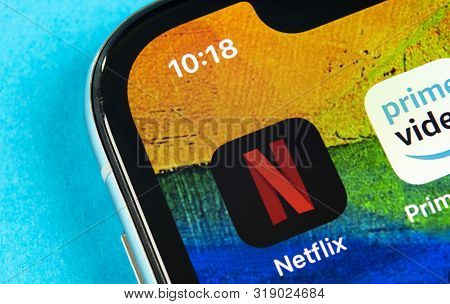 Helsinki, Finland, May 4, 2019: Netflix Application Icon On Apple Iphone X Screen Close-up. Netflix
