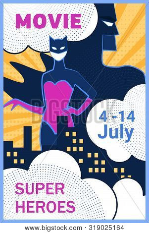 Superhero Movie Halftone Retro Poster. Woman Cat Costume, Man Bat Mask, Night City Vector Illustrati
