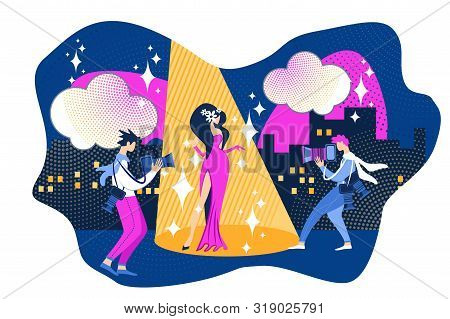 Famous Woman Actress in Fashion Dress Posing. Man Paparazzi Photographer Take Pictures Vector Illustration. Movie Premiere Event. Film Festival. Female Celebrity Photo, Journalist Reporter poster