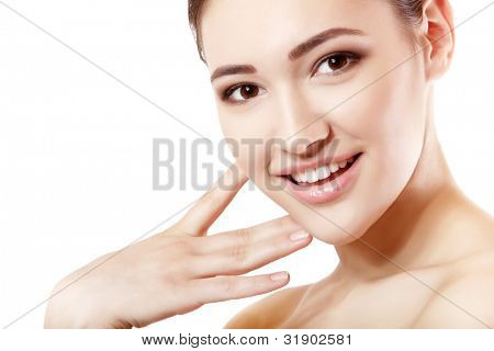 portrait of young beautiful woman happy smiling and looking at camera. isolated on white background.