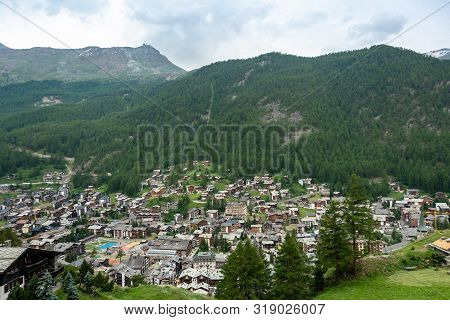 View Of Village Zermatt, Hotels And Traditional Chalets.