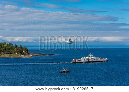 Nanaimo, British Columbia- May 18, 2017: Harbour Air Seaplanes Is A Scheduled Floatplane Service, To