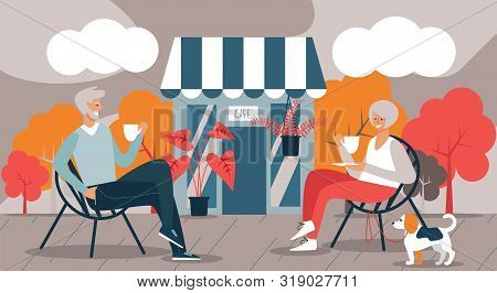 Elderly Man And Woman And Dog Drink Coffee In Cafe. Vector Illustration. Free Time. Development And