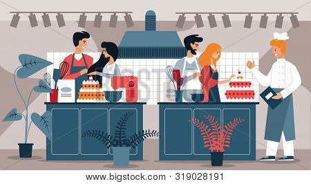 People In Pastry Shop Prepare Cake. Hobby Cooking. Vector Illustration. Development And Hobby. Group