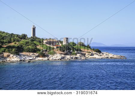 Old Venetian Lighthouse On The Island Of Kefalonia. Greece
