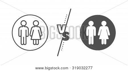 Wc Toilet Sign. Versus Concept. Restroom Line Icon. Public Lavatory Symbol. Line Vs Classic Restroom