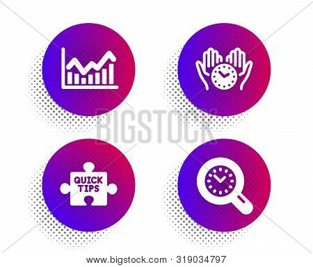 Infochart, Safe Time And Quick Tips Icons Simple Set. Halftone Dots Button. Time Management Sign. St