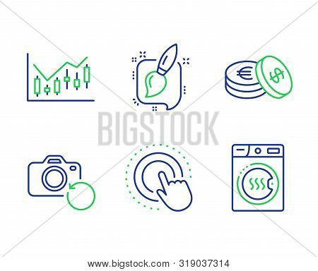 Painting Brush, Click Hand And Financial Diagram Line Icons Set. Recovery Photo, Savings And Dryer M