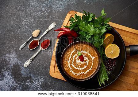 Dal Makhani At Dark Background. Dal Makhani - Traditional Indian Cuisine Puree Dish With Urad Beans,