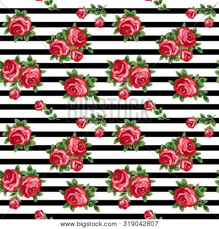 Seamless Background With Red Roses And Black And White Stripes