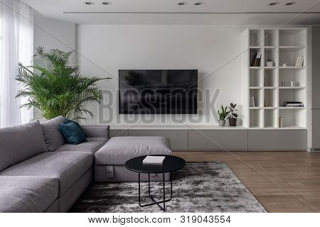 Stylish Modern Interior With White Walls And Parquet With Carpet