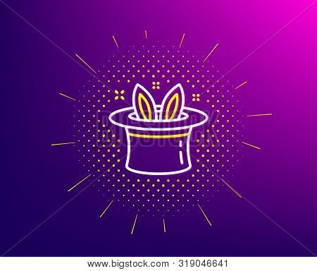 Hat-trick Line Icon. Halftone Pattern. Magic Tricks With Hat And Rabbit Sign. Illusionist Show Symbo
