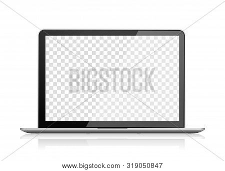 Realistic Laptop Front View. Notebook Computer With Empty Screen. Portable Pc Blank Screen. Transpar