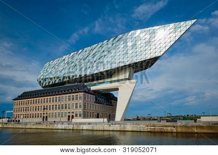 ANTWERP, BELGIUM - MAY 27, 2018: Port authority house (Porthuis) designed by famous Zaha Hadid Architects which was her last project