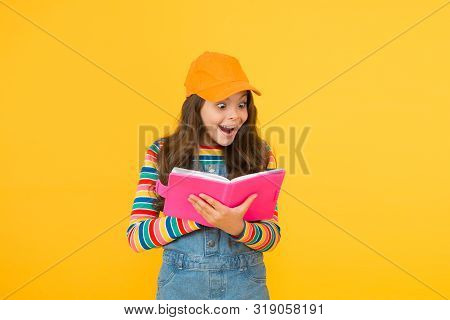 Informal Education Concept. Join School Literature Club. Child Happy Smiling Girl With Notepad Book