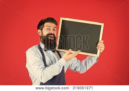 Bartender With Blackboard. Hipster Bartender Show Blackboard Copy Space. Hipster Restaurant Staff. H