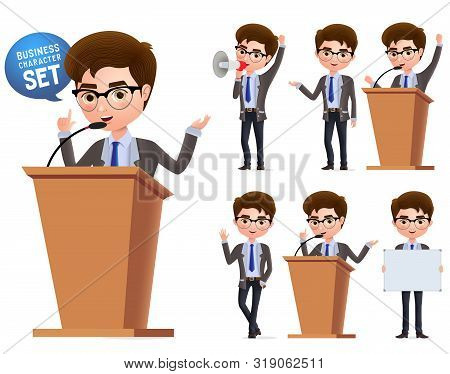 Male Politician Vector Characters Set. Business Character  Or Politician Speaking Politics And Stand