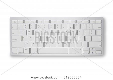 Close Up Keyboard Isolated On White Background With Clipping Path. Keyboard Di Cut With Path Simply