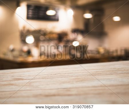 Table Top Counter Coffee Shop Cafe Interior Blur Bar Counter Background
