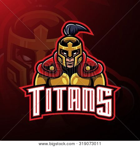 Titans Warrior Mascot Logo Design With Text