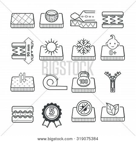 Lineart Icons Of Mattress Pillow Features, Orthopedic Bedding