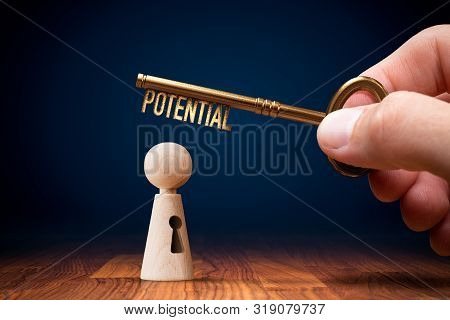 Coach Has A Key To Unlock Potential - Motivation Concept. Coach (manager, Mentor, Hr Specialist) Unl