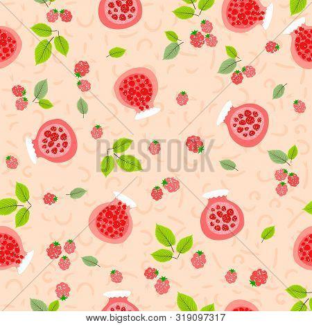 Red Jars With Manin Jam. Childrens Design. Seamless Pattern. Vector Illustration.