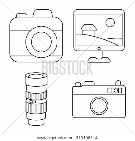 Vector Illustration Of Photography And Equipment Sign. Set Of Photography And Accessories Vector Ico