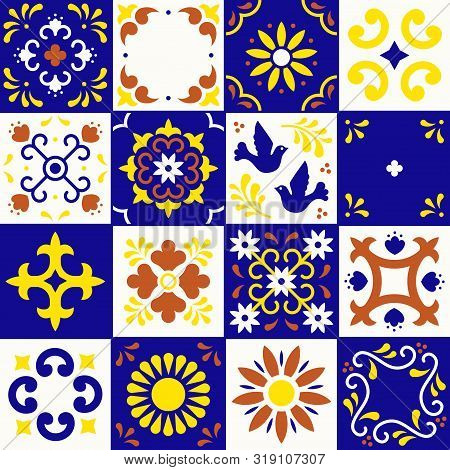 Mexican Talavera Pattern. Ceramic Tiles With Flower, Leaves And Bird Ornaments In Traditional Style