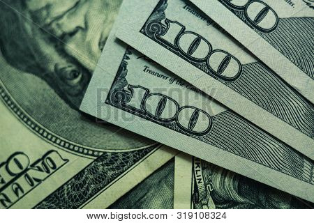 Close Up Beautiful Dollars Background. American, Us Dollars Cash Money. One Hundred Dollar Banknotes