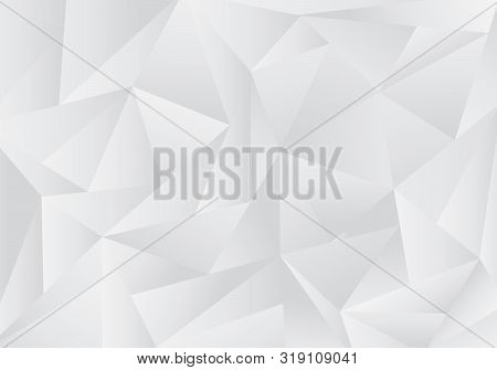 Abstract Gray And White Low Polygon Or Triangles Pattern Background And Texture. Vector Illustration