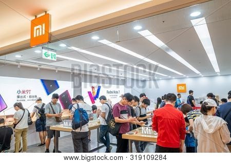 Taipei, Taiwan - August 17th, 2019: famous electronic branding of Xiaomi store in Taipei, Taiwan, Asia