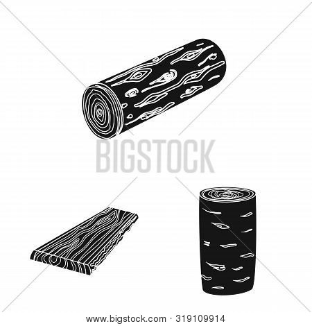 Vector Design Of Hardwood And Construction Symbol. Set Of Hardwood And Wood Stock Vector Illustratio